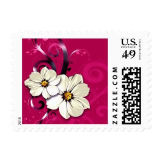 Ornate Floral Flourish   fuchsia Postage