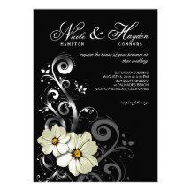 Ornate Floral Flourish Monogram | black Cards