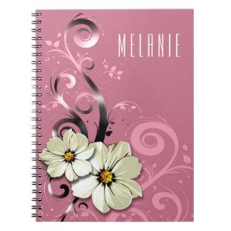 Ornate Floral Flourish Monogram   mauve pink white Notebook