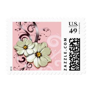 Ornate Floral Flourish   peony pink Postage Stamps