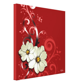 Ornate Floral Flourish | red Canvas Print