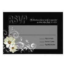Ornate Floral Flourish RSVP | black Personalized Invitation