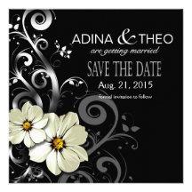 Ornate Floral Flourish Save the Date | black Custom Invitations