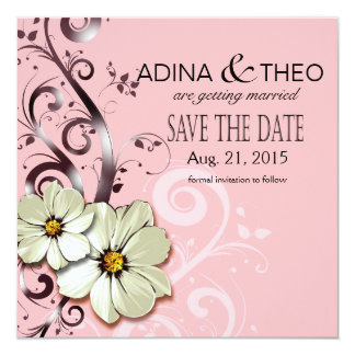 Ornate Floral Flourish Save the Date | pink Card