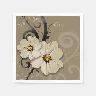 Ornate Floral Flourish | taupe Napkin