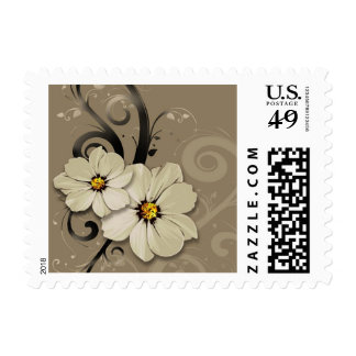 Ornate Floral Flourish   taupe Postage Stamps