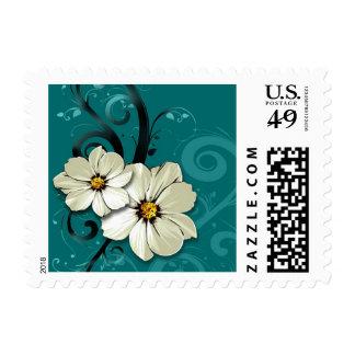Ornate Floral Flourish   turquoise Stamp