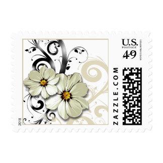 Ornate Floral Flourish   white Stamp