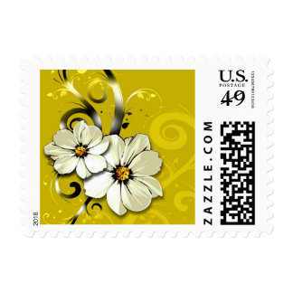 Ornate Floral Flourish   yellow Stamp