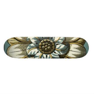 Ornate Floral Medallion on Light Blue Background Skateboard