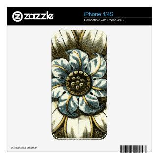 Ornate Floral Medallion on Light Blue Background iPhone 4 Skins
