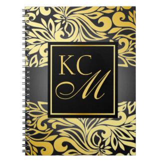 Ornate Floral Monogram Journal   pewter Notebooks