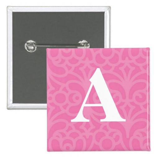 Ornate Floral Monogram - Letter A 2 Inch Square Button