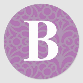 Ornate Floral Monogram - Letter B Classic Round Sticker