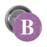 Ornate Floral Monogram - Letter B Pinback Button