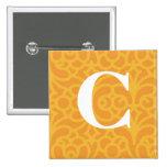 Ornate Floral Monogram - Letter C 2 Inch Square Button