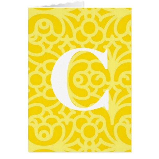 Ornate Floral Monogram - Letter C Card