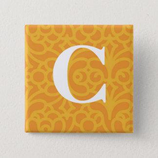 Ornate Floral Monogram - Letter C Pinback Button