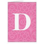 Ornate Floral Monogram - Letter D Card