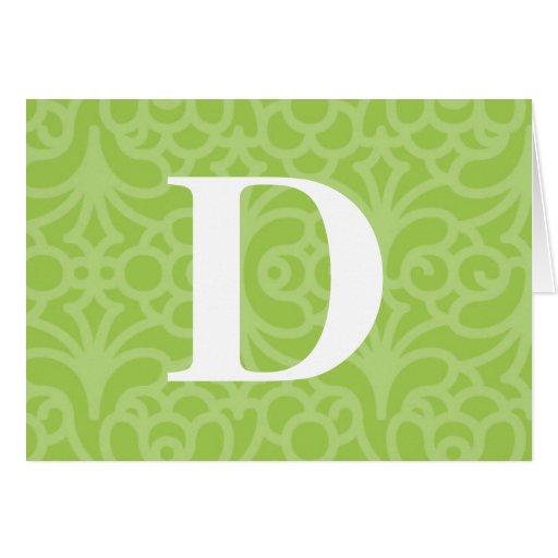 Ornate Floral Monogram - Letter D Cards