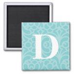 Ornate Floral Monogram - Letter D Fridge Magnet