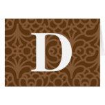 Ornate Floral Monogram - Letter D Greeting Card