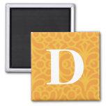 Ornate Floral Monogram - Letter D Refrigerator Magnet