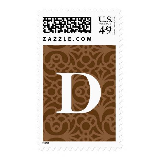Ornate Floral Monogram - Letter D Postage Stamps
