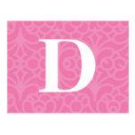 Ornate Floral Monogram - Letter D Postcard