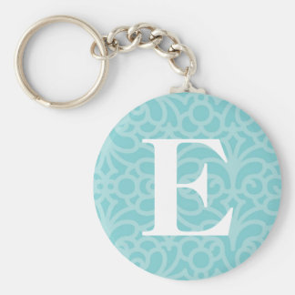 Ornate Floral Monogram - Letter E Basic Round Button Keychain