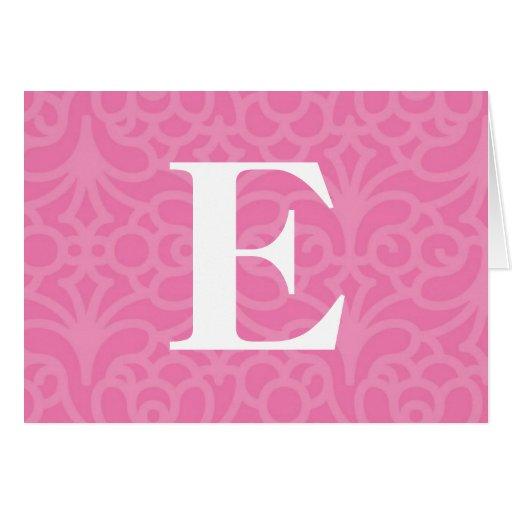 Ornate Floral Monogram - Letter E Card
