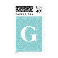 Ornate Floral Monogram - Letter G Postage Stamp