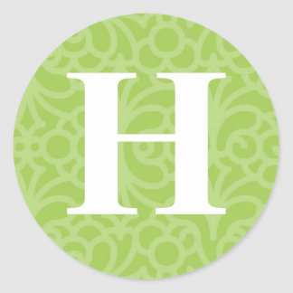 Ornate Floral Monogram - Letter H Classic Round Sticker