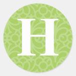 Ornate Floral Monogram - Letter H Classic Round Sticker