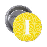 Ornate Floral Monogram - Letter I 2 Inch Round Button