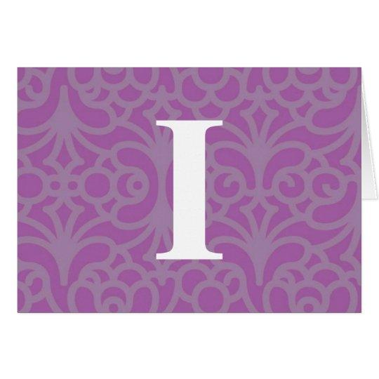 Ornate Floral Monogram - Letter I Card