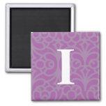 Ornate Floral Monogram - Letter I Fridge Magnets