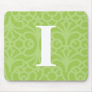 Ornate Floral Monogram - Letter I Mouse Pad