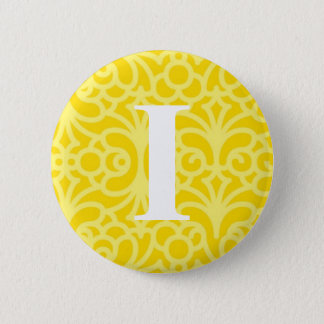 Ornate Floral Monogram - Letter I Pinback Button