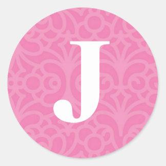 Ornate Floral Monogram - Letter J Classic Round Sticker