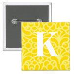 Ornate Floral Monogram - Letter K Button