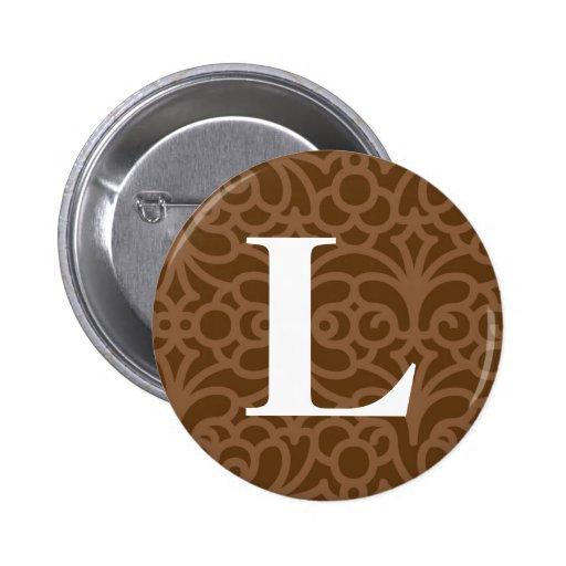 Ornate Floral Monogram - Letter L 2 Inch Round Button