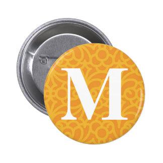 Ornate Floral Monogram - Letter M Button