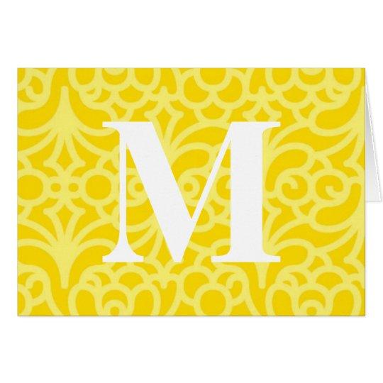 Ornate Floral Monogram - Letter M Card