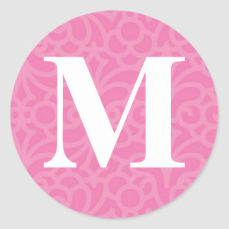 Ornate Floral Monogram - Letter M Classic Round Sticker
