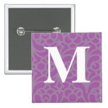 Ornate Floral Monogram - Letter M Pinback Button