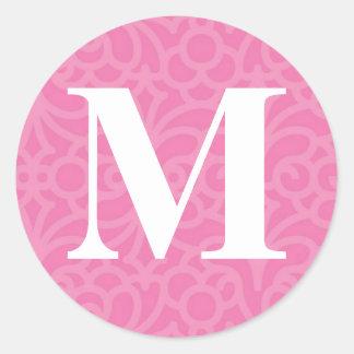 Ornate Floral Monogram - Letter M Classic Round Sticker