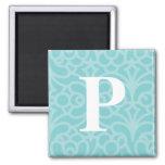 Ornate Floral Monogram - Letter P 2 Inch Square Magnet