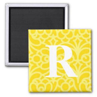 Ornate Floral Monogram - Letter R 2 Inch Square Magnet