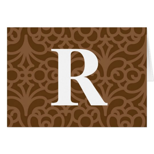 Ornate Floral Monogram - Letter R Card